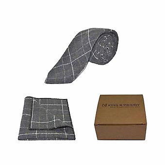 Heritage Check Charcoal Grey Tie & Pocket Square Set | Boxed