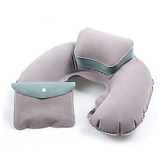 TRIXES Beige and Green Inflatable Headrest Soft Blow-Up Travel Pillow