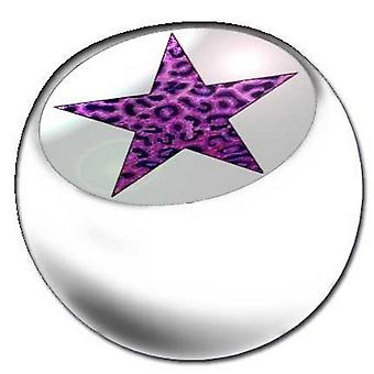 Lävistyksiä korvaaminen pallo valkoinen, Body korut, leopardi tähden violetti | 1,6 x 5 ja 6 mm