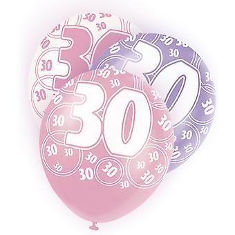 Unik Party 12 tums 30-årsdag rosa ballonger (5-Pack)