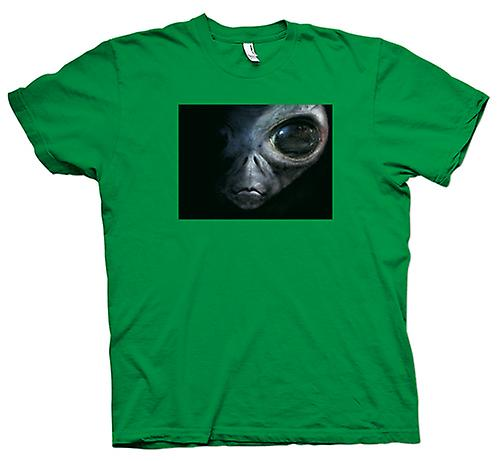 Mens T-Shirts-Alien - UFO - Grey