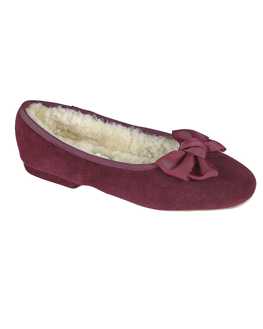 Ladies Ballerina Sheepskin Slippers - Damson