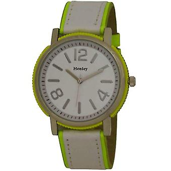 Henley Ladies Neon Yellow Round Brushed Chrome Case