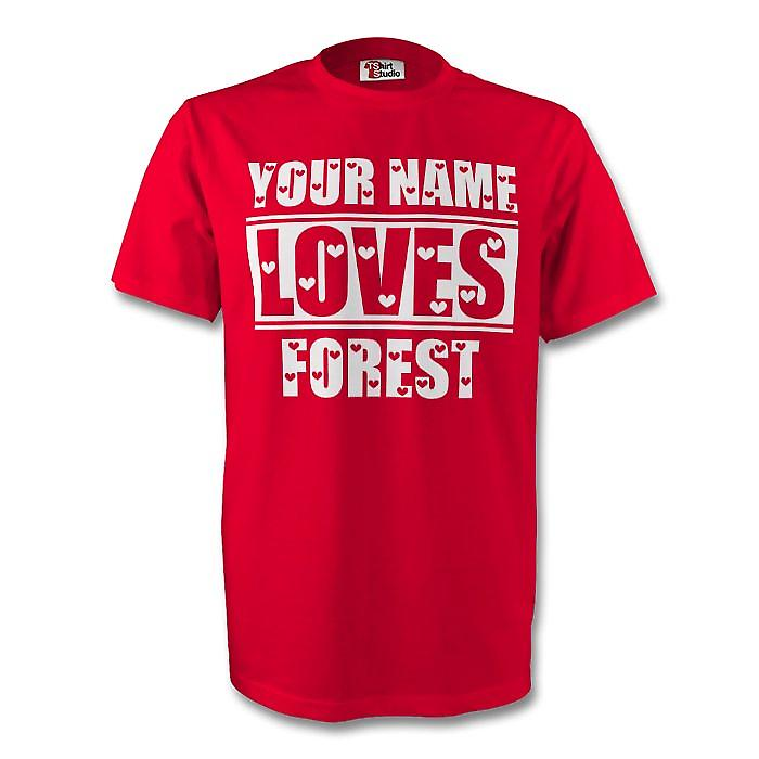 Your Name Loves Forest T-shirt (red) - Kids