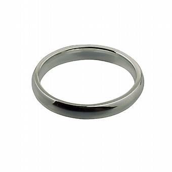 9ct White Gold 3mm plain Court shaped Wedding Ring Size I