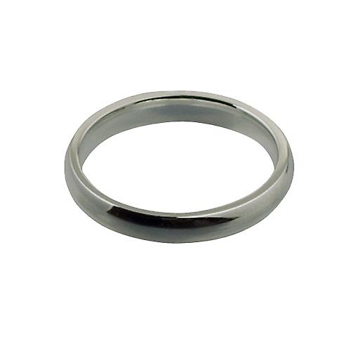 9ct White Gold 3mm plain Court shaped Wedding Ring