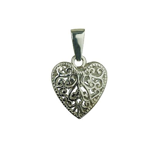 Silver 20mm double sided filigree heart with a bail loop