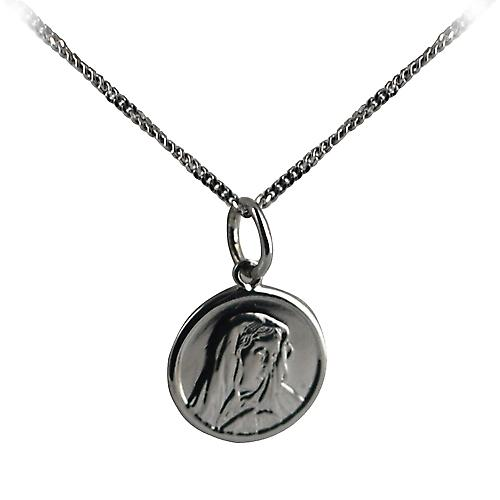 9ct White Gold 13mm round Our Lady of Sorrows Pendant with a curb Chain 16 inches Only Suitable for Children