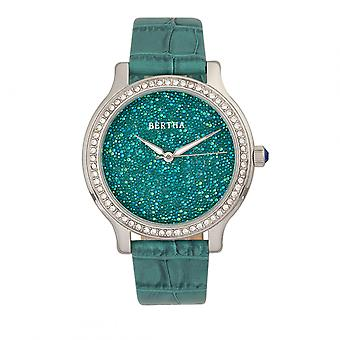 Bertha Cora Crystal-Encrusted Leather-Band Watch - Teal