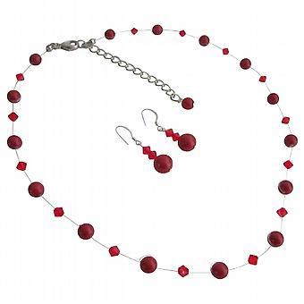 Røde perler & glitrende røde Crystal skoleball eller Semi formelle smykker sett