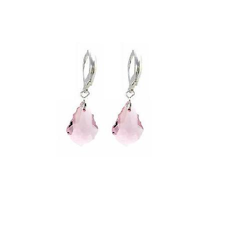 Baroque Crystal Multi Faceted Rose Crystal Earrings Sterling 92.5