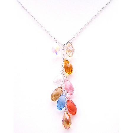 Handcrafted Gorgeous Multicolor Swarovski Top Drilled Teardrop Gift