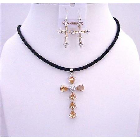 Golden Shadow Cross Pendant Necklace Set w/ Cross Earrings Jewelry Set