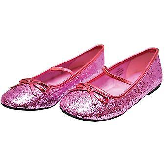 Flache Ballett Glitter Ch rosa Xl