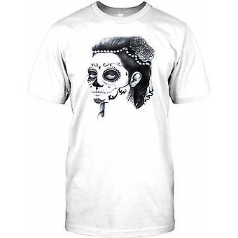 Mexican Sugar Skull Tattoo Design Kids T Shirt