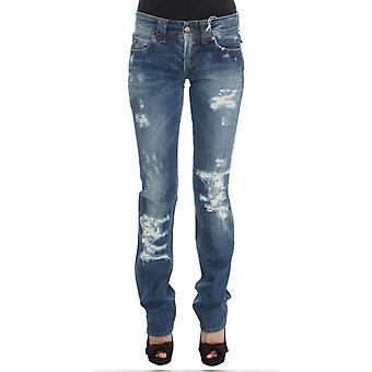 Galliano Blue Wash Cotton Blend Slim Fit Bootcut Jeans -- SIG3349616