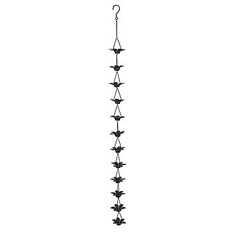 Acabado Metal flor de lirio lluvia cadena conectado w/gancho de cobre 48 pulgadas