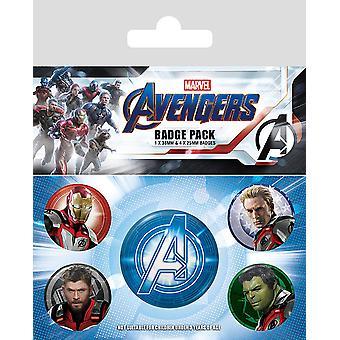 Vengadores: juego final botón set cuántica del Reino juegos de hoja impresa, 1 x Ø 3.8 cm, 4 x Ø 2,5 cm.