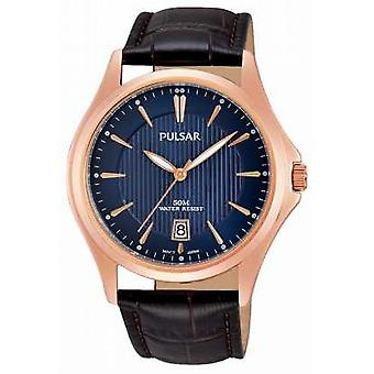 Pulsar Mens Brown Leather Watch Strap quadrante blu PS9388X1