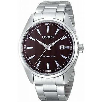 Lorus Mens Chunky Steel Black Dial Quartz RH999CX9 Watch
