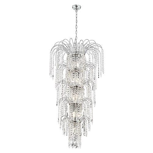 Searchlight 1313-13CC Waterfall Shower Crystal Chandelier In Chrome 5 Tiered 13 Lights
