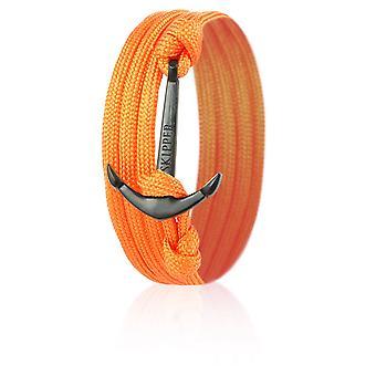 Skipper Anker-Armband Wickelarmband Nylon in Orange mit Schwarzem Anker 8007