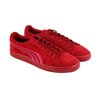 Puma Suede Classic Badge 36259409 Mens Red Lace Up Low Top Sneakers Shoes