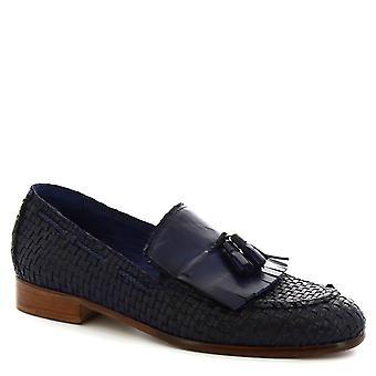 Leonardo Shoes Men's handmade tassel loafers shoes in blue woven calf leather
