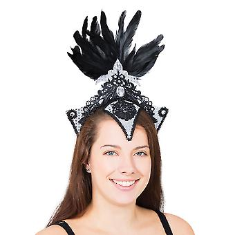 Bristol Novelty Unisex Adults Silver/Black Burlesque Headpiece