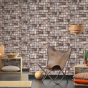 A.S. Creation AS Creation Wood Block Pattern Wallpaper Faux Effect Square Embossed Texture 344524