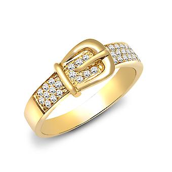 Jewelco London Solid 18ct Yellow Gold Pave Set Round G SI1 0.34ct Diamond Belt Buckle Dress Ring 7mm