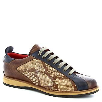 Leonardo Shoes Men's handmade laced shoes brandy blue leather crocodile print