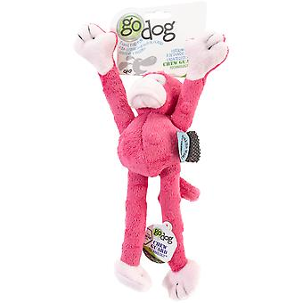 goDog Crazy Tugs Monkey with Chew Guard Small-Pink 770733