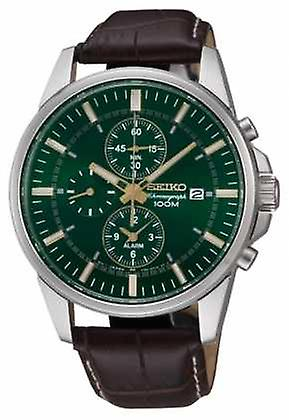 Seiko Mens Stainless Steel Green Dial Brown Leather Alarm Chrono SNAF09P1 Watch