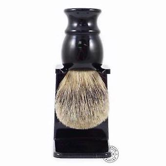 Executive Shaving Best Badger Hair Black Shaving Brush & Drip Stand