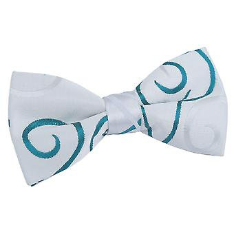 White & Teal Scroll Patterned Pre-Tied Bow Tie