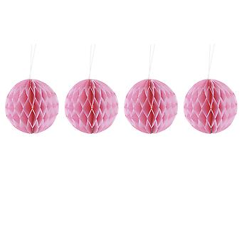 Pack of Four Pink 10cm Honeycomb Retro Pom Pom Decorations