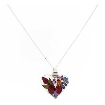 Shrieking Violet Silver Real Mix Flowers Love Heart Pendant Necklace Chain