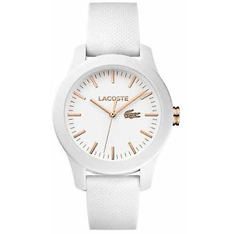 Lacoste Womens 12.12 White Rubber Strap White Dial 2000960 Watch