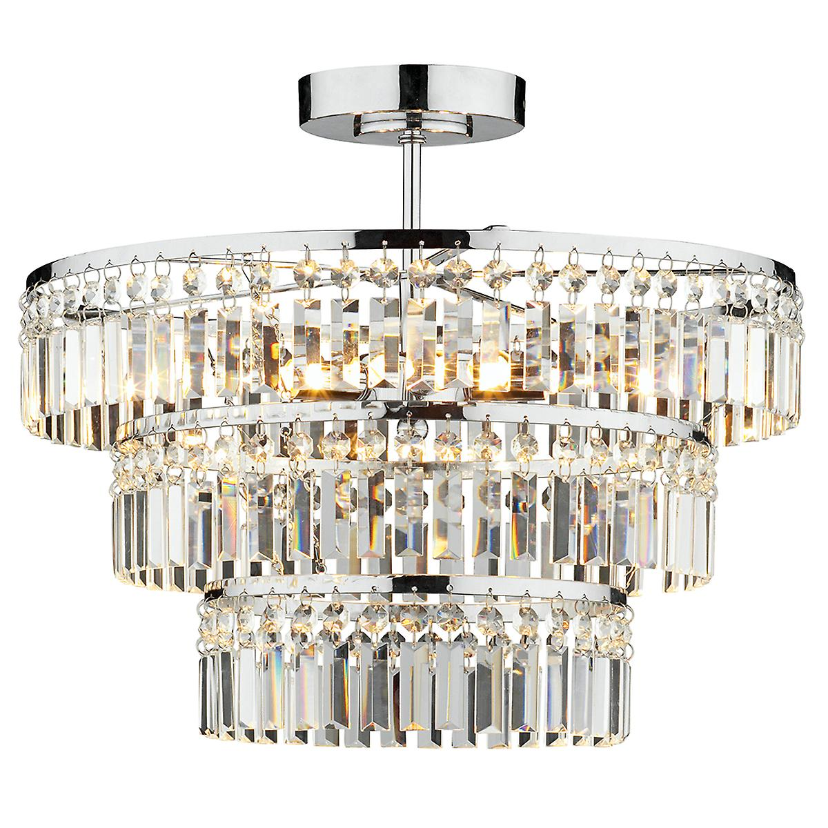 Dar ROW5450 Rowena 3 Light 3 Tier Semi-Flush Polished Chrome
