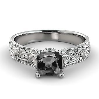 14k oro bianco 3,06 CTW diamante nero anello con diamanti a mano dell'annata incisa Designer