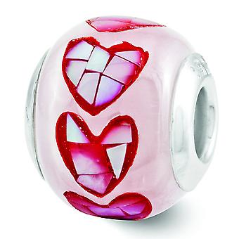 Sterling Silver Polished Antique finish Reflections Pink Fiber Optic Glass Mosaic Bead Charm