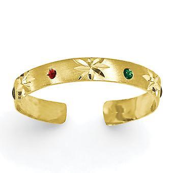 14k geel gouden satijn Sparkle-Cut geëmailleerd teen Ring -.6 gram