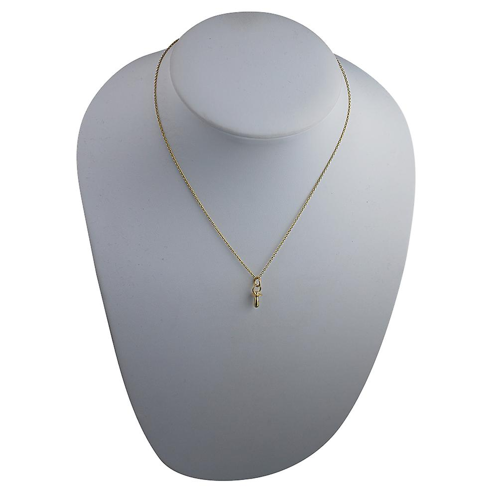 9ct Gold 14x6mm Babies Dummy Pendant with a cable Chain 16 inches Only Suitable for Children