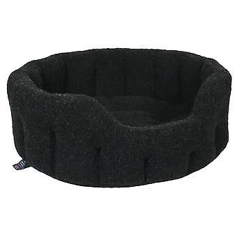 Premium Oval Fleece Softee Bed Black Size 6 97x74x25cm