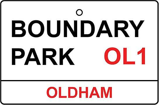 Oldham / Boundary Park Street Sign Car Air Freshener