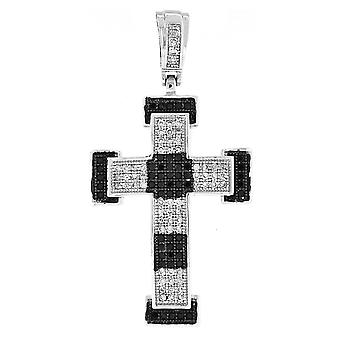 925 iced out silver cross - Mirco pave black / silver