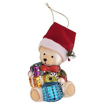 Teddy Bear Santa With Gifts Christmas Holiday Ornament Glass