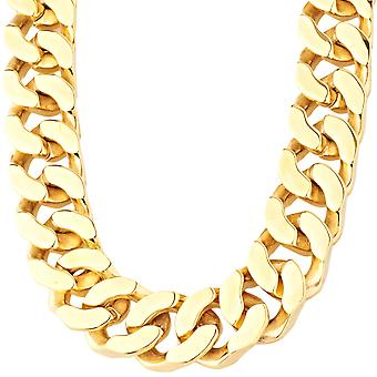 Iced out massive stainless steel curb chain - 20 mm gold