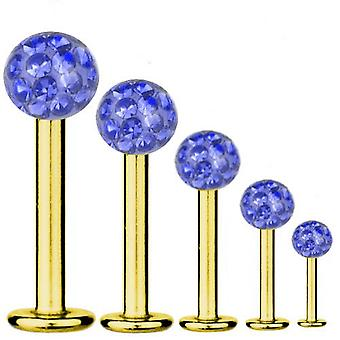 Labret Bar Piercing Gold Plated Titanium 1,6mm, Multi Crystal Ball Sapphire Blue | 5-16 mm